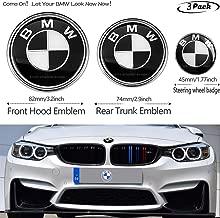 3pcs Black and White 82mm Hood Emblem/74mm Trunk Emblem/45mm Steering Wheel Center Emblem for BMW, Emblems Replacement for BMW X3 X5 X6 3 4 5 6 7 8 series 325i 328i E46 E30 E36 E34 E38 E39 E60 E65 E9