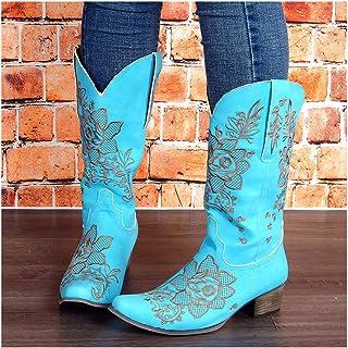 GUOXI Mujeres Alto Botas De Caballero Bordado Montar Largo Botas Mediados-Becerro Western Cowboy Invierno Caliente Tacón A...