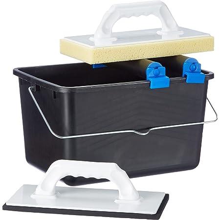 Top Deal 1801673Suki carrelage à laver Set 5pièces Bleu avec roulettes doubles Embout, 1planche à laver pour carrelage, 1Taloche en plastique avec zellkaut Schuk, 1seau 12L Noir