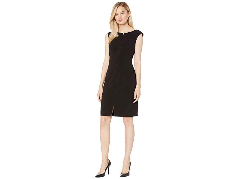 Anne Klein Split Front Ext. Cap Sheath Dress (Anne Black) Women