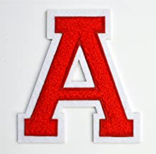 Varsity Letter Patches - Red Embroidered Chenille Letterman Patch - 4 1/2 inch Iron-On Letter Initials (Red, Letter A Patch)