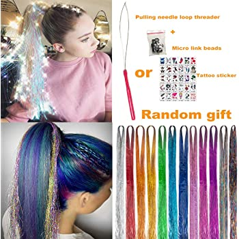 "UPTO 46""Hair Tinsel with Tools 12 Colors 2000 Strands Hair Tinsel Kit Hair Dazzle Glitter Extensions Sparkling Shiny Hair Flairs Extensions Silk Fairy Hair Tinsel Strands Kit Hair (46 inch, 12 colors)"