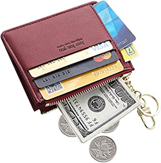 PSEEHEE Slim Minimalist Card Holder Wallet, Small Front Pocket Wallet Card Case with Keychain, Change Purse Women