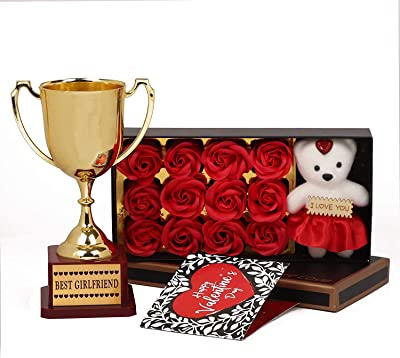 TIED RIBBONS Valentine Day Gift for Girlfriend - Romantic Gift Pack (Scented Rose Flowers Gift with Teddy ,Small Greeting Card and Golden Trophy)