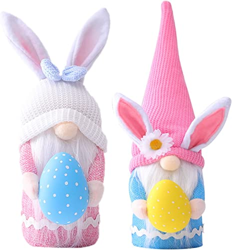 discount Set of 2 new arrival Easter Bunny Gnomes Decor Girl Room Decor Gifts Nordic Swedish Nisse online Scandinavian Tomte Dwarf Home Ornament Decor Spring Easter Collectible Figurine sale