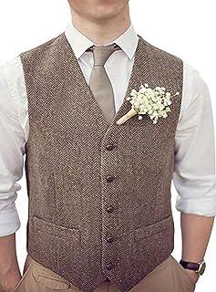 RONGKIM Men's Wool Herringbone Groom Vest Formal Groom's Wear Suit for Wedding Waistcoat Plus Size