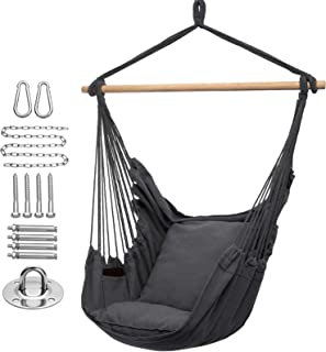 Y- STOP Hammock Chair Hanging Rope Swing, Max 320 Lbs, 2 Seat Cushions Included, Quality..