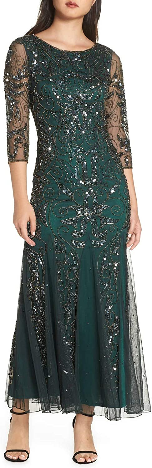 Aishanglina Women's Heavy Beaded Mesh Evening Gown Crystal Sequins Beaded Wedding Party Cocktail Dress