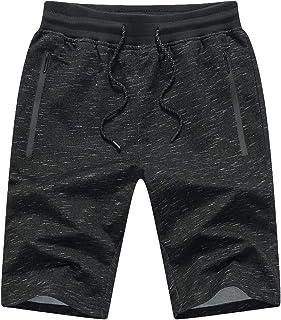 Tansozer Mens Gym Shorts Summer Casual Sports Shorts Elasticated Waist with Zip Pockets