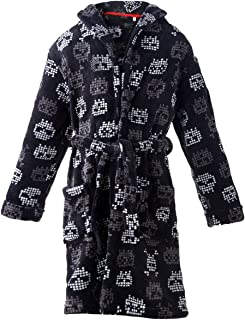 home swee Boys Plush Fleece Robe Shawl Skull and Hooded Spacecraft Printed Soft Kids Bath Robe for Boy