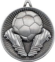 Lapal Dimension Voetbal Deluxe Medal - Antiek Zilver 2.35in Pack van 10