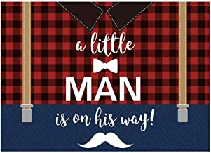 Funnytree 7x5FT A Little Man is on His Way Photography Backdrop Lumberjack Buffalo Plaid Birthday Baby Shower Party Decoration Background Photo Booth