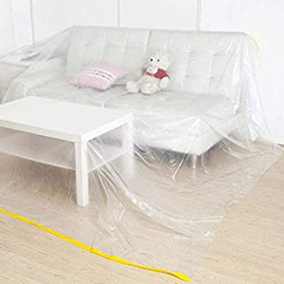 118 x 78inches 2 PACK Furniture Cover Plastic Storage Bag Extra Large Couch Cover Heavy Duty Water Resistant Sofa Slipover Transparent Bed Couch Protector Dust Cover for Moving Long Term Storage