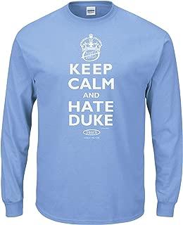 Smack Apparel North Carolina Basketball Fans. Keep Calm and Hate Duke Carolina Blue T-Shirt (Sm-5X)