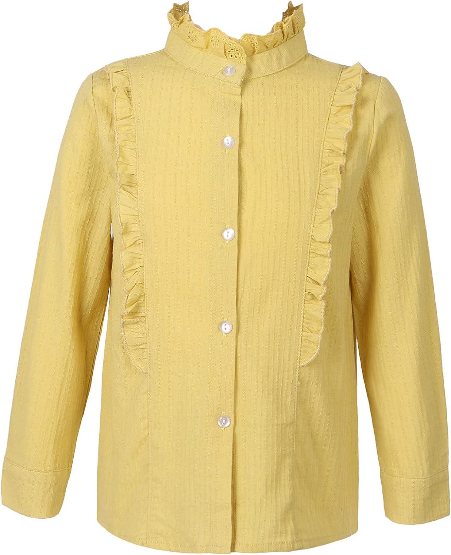 JanJean Kids Girls Long Sleeve Button Soli Top Shirt Factory outlet Down Save money Ruffle
