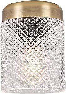 TeHenoo Retro Industrial Ceiling Light Fixture, Glam Light with Glass Tube Shade Antique Brass Finish Mounted Light Ceiling Lighting Fixture for Dining Room, Kitchen, Loft Art Deco, Hallway, Entryway