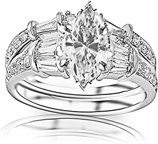 1.33 Carat t.w. GIA Certified Marquise Cut 14K White Gold Baguette and Round Brilliant Diamond Engagement Ring and Wedding Band Set (D-E Color VS1-VS2 Clarity)