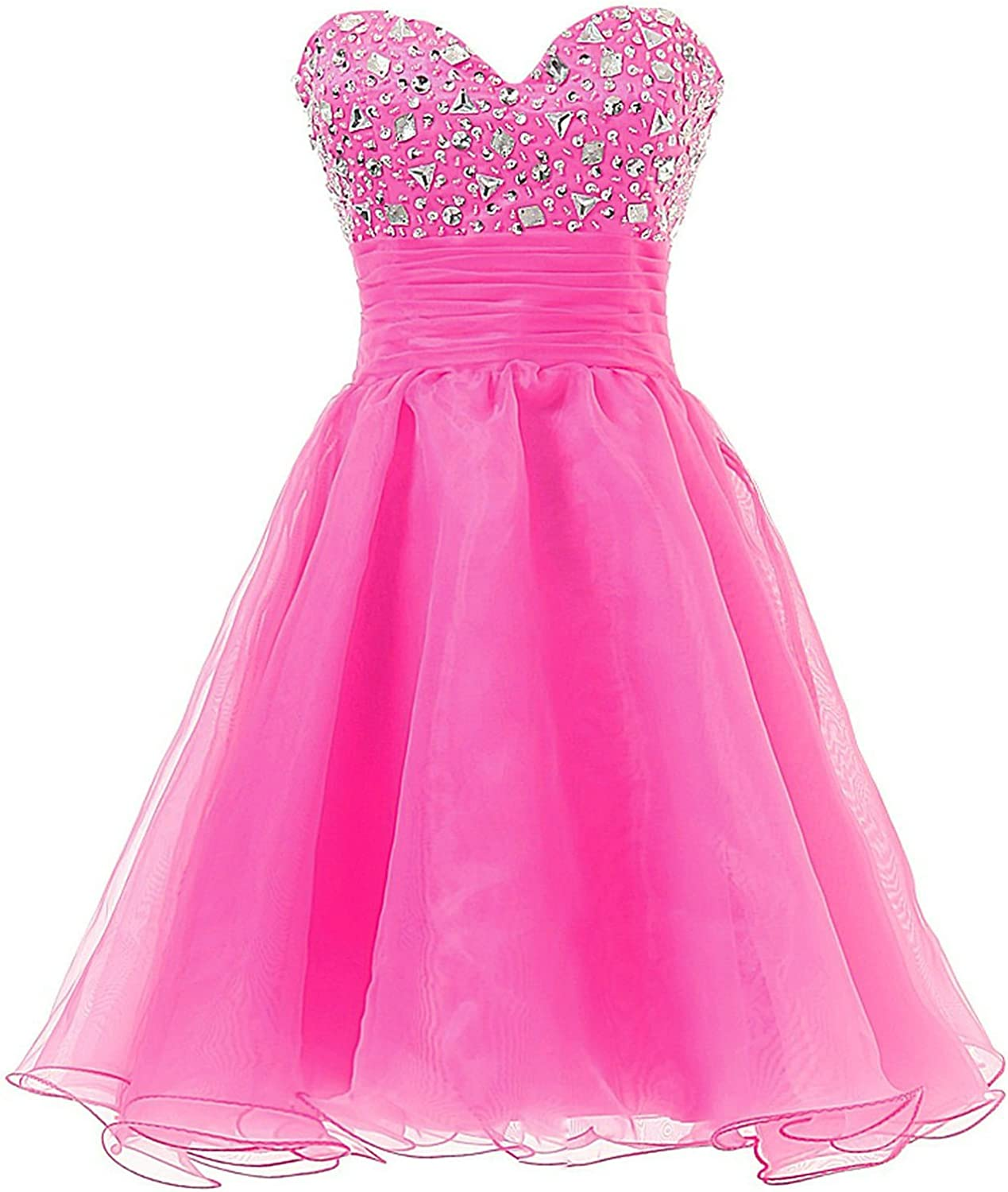 QY Bride Sweet Girl Dance Birthday Party Dresses Organza Short