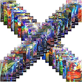 100Pcs Poke Cards TCG Style Card Holo EX Full Art 59 EX Cards 20 Mega EX Cards 20 GX Cards 1 Energy Card (80 EX Cards and 20 GX Cards)