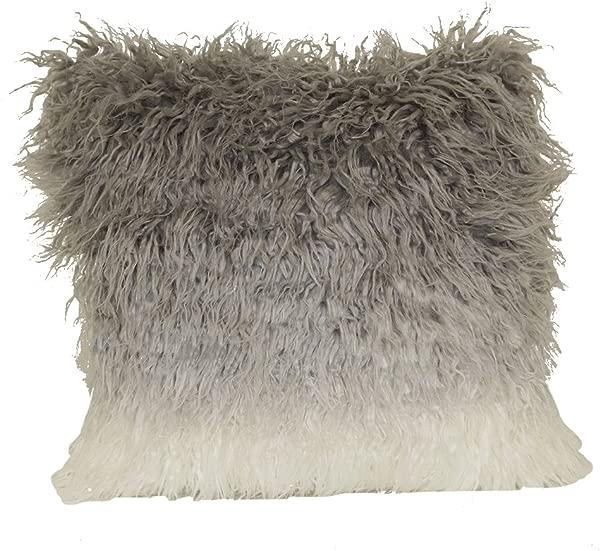 Brentwood Originals Ombre Mongolian Fur 18 Decorative Toss Pillow Grey
