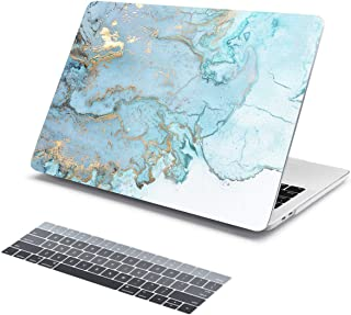 Batianda Light Blue Gold Marble Pattern Hard Protective Cover Case for New MacBook Pro 13 inch (Model:A2159/A1989/A1706/A1708 2019 2018 2017 2016 Release) with Gradient Grey Keyboard Skin