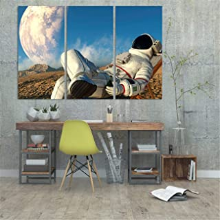 Wall Art 3 Pieces Large Painting Canvas Print Beer Drinking Astronaut on the Moon Space Posters Art Canvas Gift Home Decoration Framed Picture for Living Room and Home Decor Artwork Ready to Hang