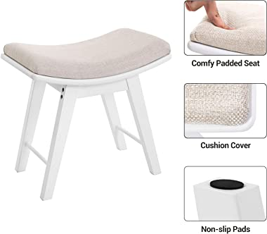 SONGMICS Vanity Stool, Modern Concave Seat Surface Makeup Dressing Stool Padded Bench with Rubberwood Legs, Capacity 286lb, E