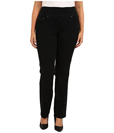 Jag Jeans Plus Size Peri Pull-On Denim Straight Leg Jeans (Black Void) Women