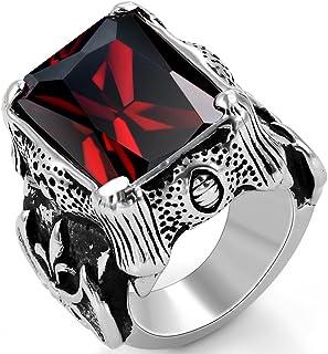 JewelryWe Anello da donna o uomo, stile retrò, in acciaio inossidabile, anello nuziale, anello di fidanzamento, col...
