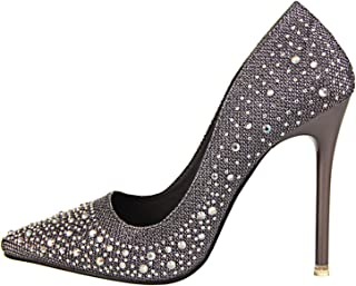 Hot New Spring Autumn Women Pumps Sexy Black Gold Silver High Heels Shoes Fashion Luxury Rhinestone Wedding Party Ladies Shoes Gray 4
