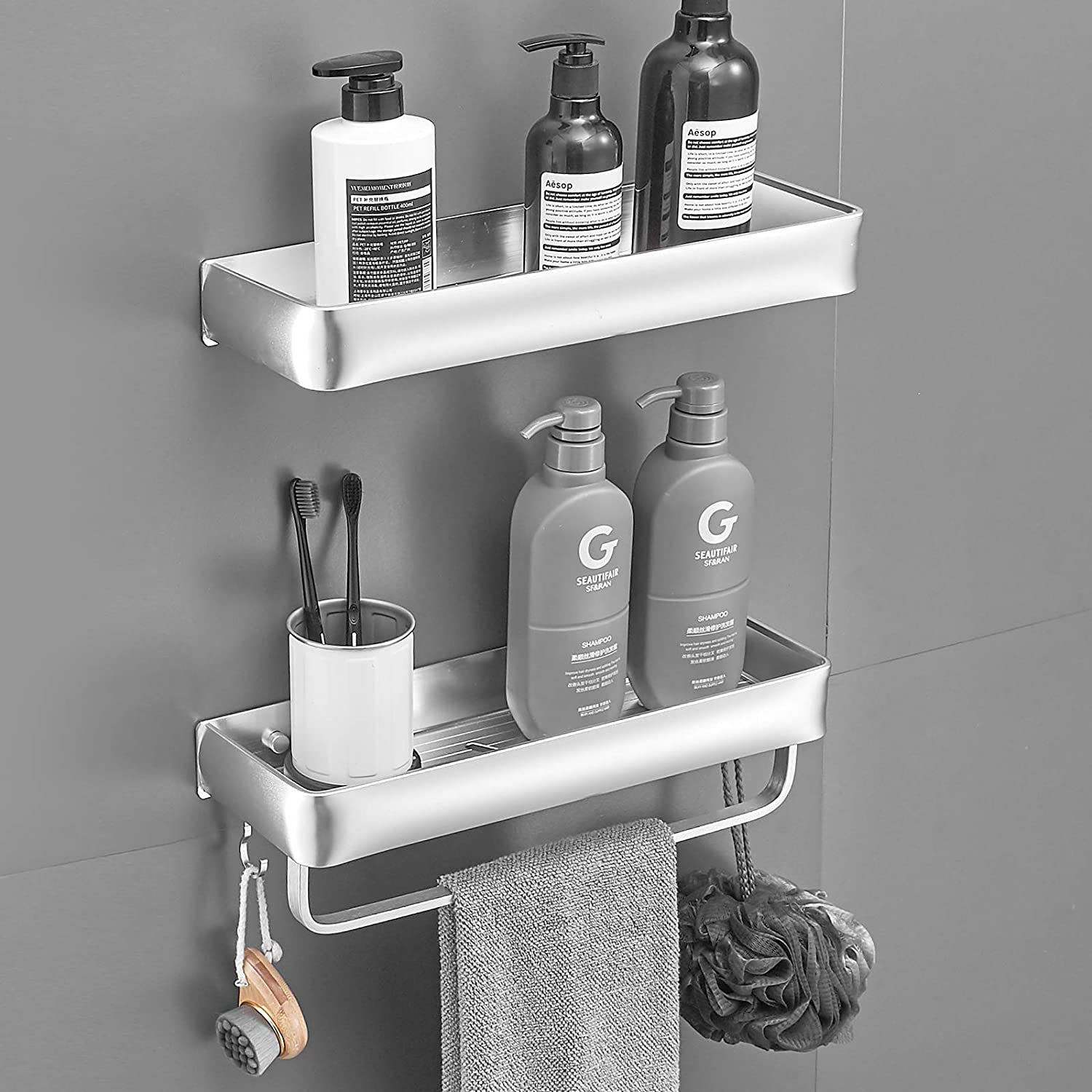 Delysia king Bathroom Shelves with Rapid Ranking TOP11 rise Towel and Hooks Metal Bar W 5
