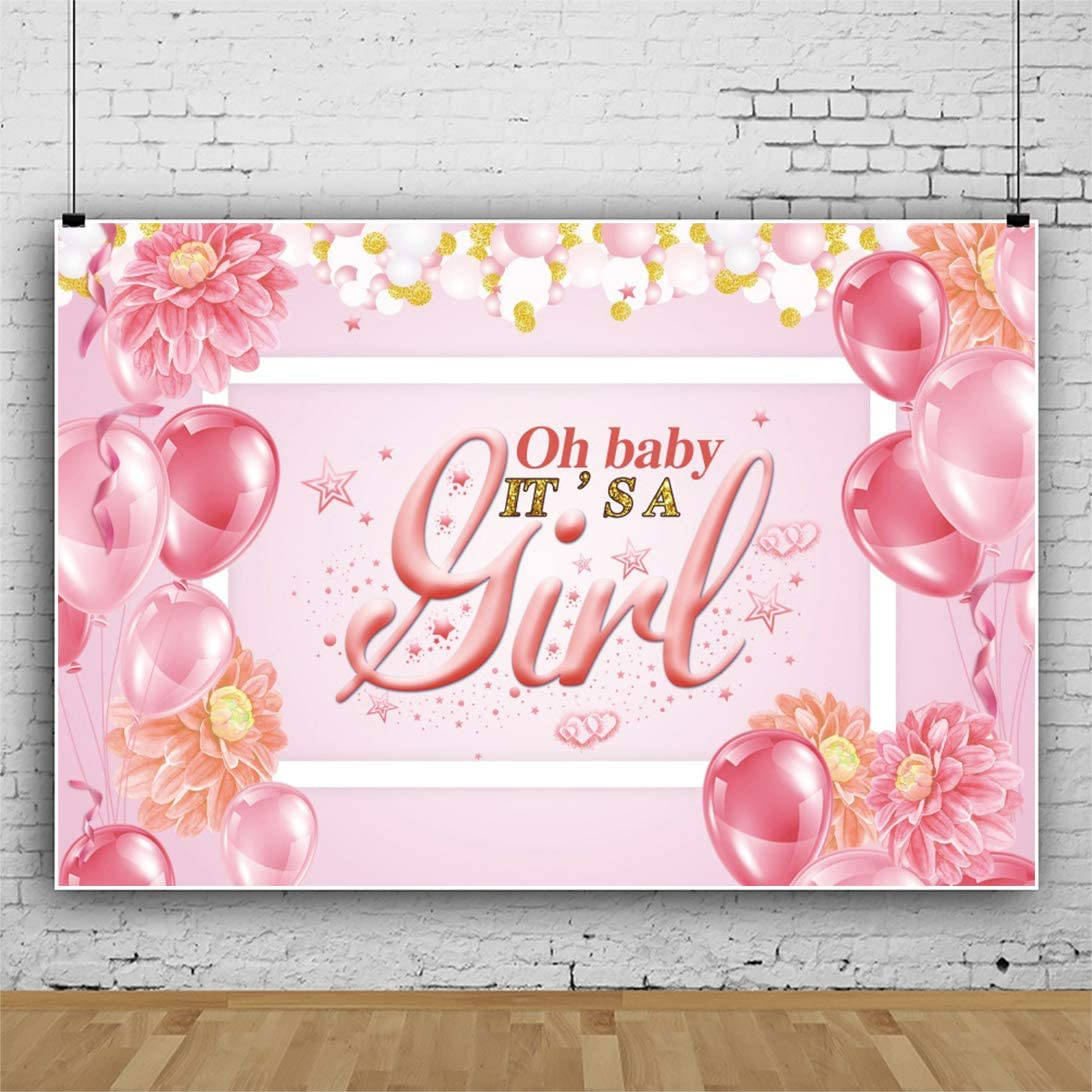 OERJU 5x3ft Its a Girl Theme Baby Shower Backdrop Balloons Floral Boy or Girl Gender Reveal Party Photography Background Pregnancy Anouncement Party Banner Girl Birthday Party Decor