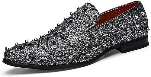 Z.L.F Chaussures Rétro Moderne Oxfords Hommes Talon Plat Rivet Metalic Slip on Chaussures de Couleur Unie Chaussures en Cuir (Couleur   argent, Taille   39 EU)