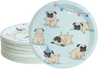 Blue Panda 80-Pack Disposable Paper Pug Plates for Lunch, Dinner, Dessert, Dog Party Supplies, 9 Inches