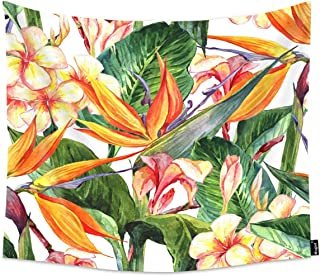 Mugod Tropical Flowers Tapestry Seamless Exotic Floral Pattern Bird of Paradise Home Decor Tapestry Wall Hanging for Bedroom Living Room Dorm, 80WX60H Inches