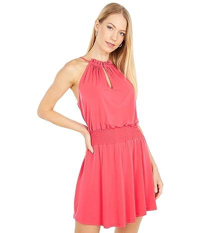 1.STATE Halter Neckline Smocked Waist Dress