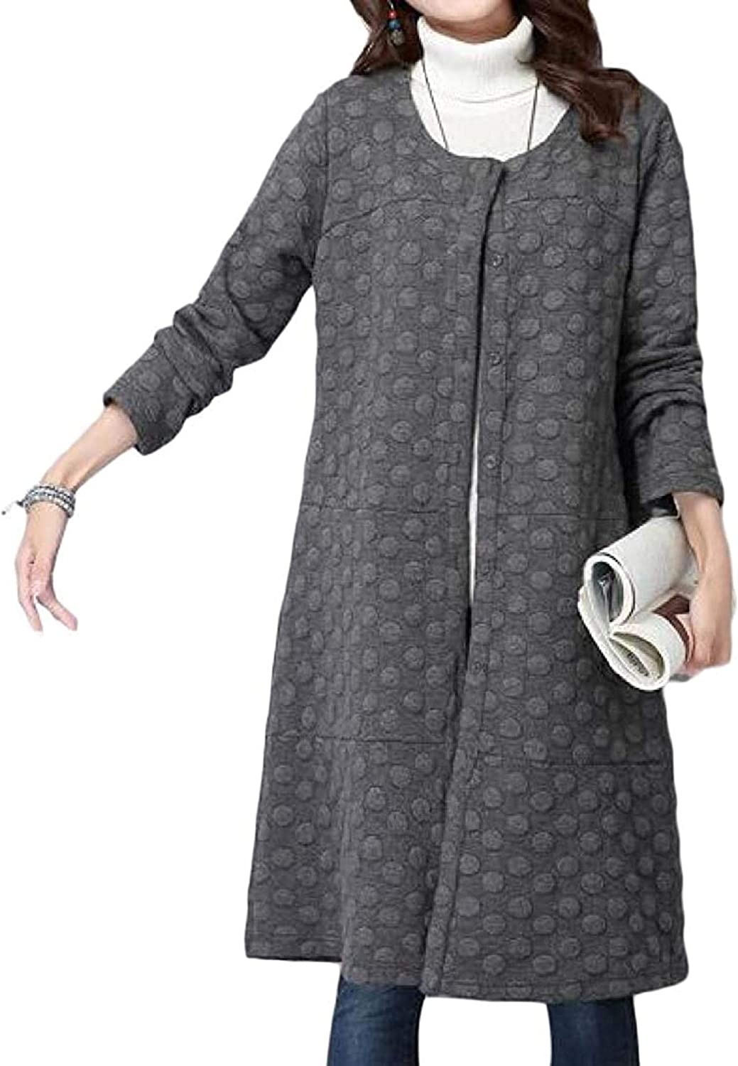 Womens Trench-Coat Solid Color Cotton-Lined Thicken Fall-Winter Quilted Jacket Coat