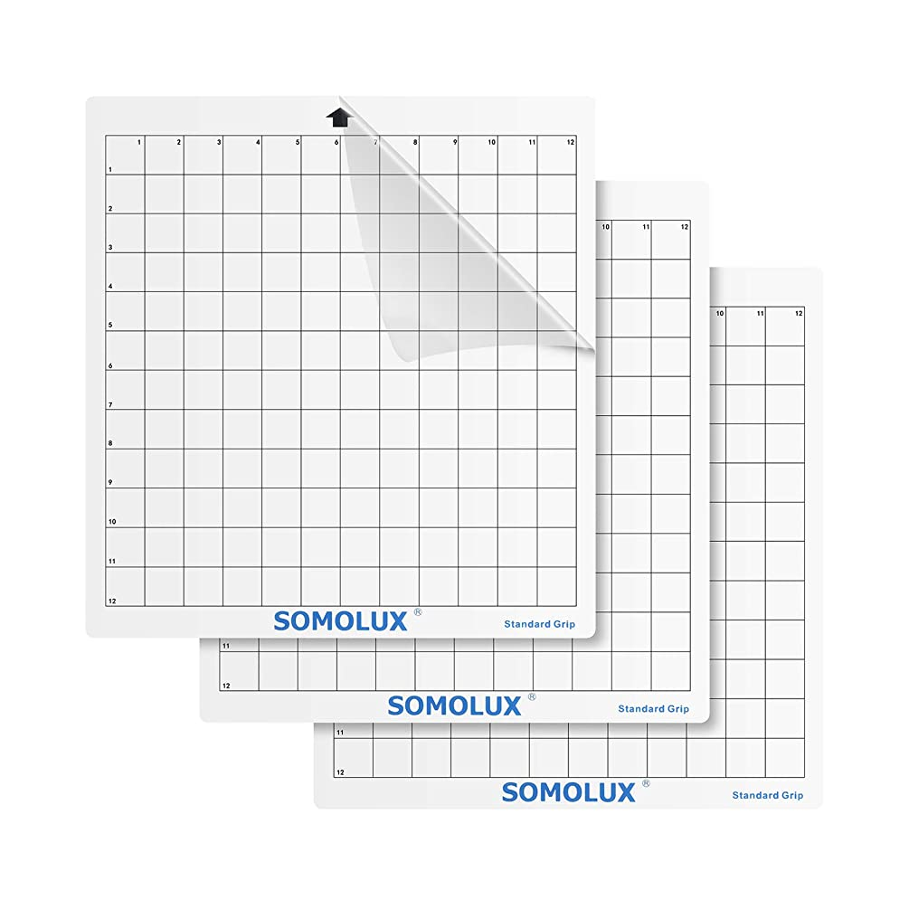 Standard-Grip Adhesive Cutting Mat t 3 Pack by SOMOLUX, Suit for Silhouette Cameo, Cricut Die Cutting Machine, 12×12 inch Clear