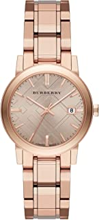 Burberry Women's Rose Check Stamped Dial Stainless Steel Band Watch - BU9135