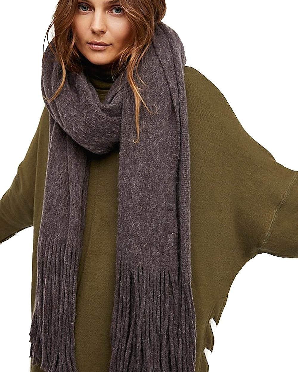 Free People Womens Kolby Knit Fringe Shawl/Wrap Purple O/S