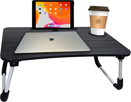S T H Foldable Bed Study Table Portable Multifunction Laptop Table Lap Desk for Children Foldable Table Work Office Home with Tablet Slot Cup Holder Bed Study Table Black
