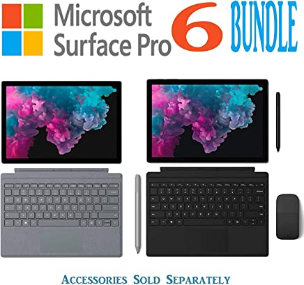 Newest Model Microsoft Surface Pro 6 Bundle 12.3 Inch PixelSense Touchscreen Tablet PC Intel Quad Core i5-8250U (Beat i7-7500U) 128GB/256GB SSD HDMI WiFi Windows 10