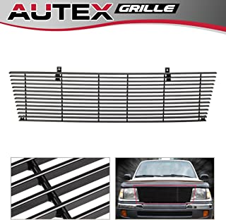 AUTEX Black Aluminum Horizontal Billet Main Upper Grille T85463H Compatible With Toyota Tacoma 4WD 1998 1999 2000 Grill