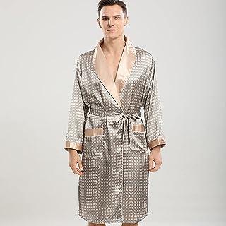 Men Kimono Bathrobe Silk Satin Soft Pajama Set Men Night Robe Long Sleeve Nightgown Dressing Gown Nightwear Sleepwear Shor...