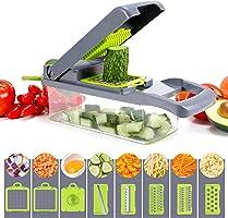 Picadora de verduras, picadora de verduras multifuncional, con 6 cuchillas de acero inoxidable, cortador de verduras 12...