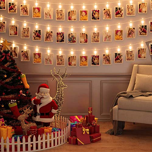 LED Photo Clip Lights 40 Pcs Picture Battery Powered Bedroom Decorations Hanging Photos Cards