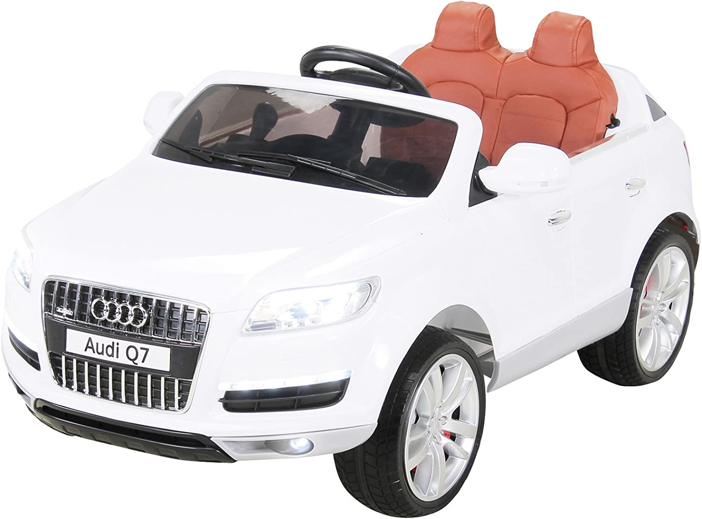 Actionbikes Motors Kinder Elektro Auto Lizenzierter Audi Q7 Lizenziert 2 x 45 Watt Motor Original Kinderelektroauto Kinderfahrzeug (Wei)
