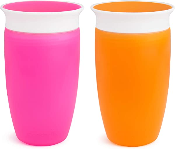 Munchkin Miracle 360 Sippy Cup Pink Orange 10 Ounce 2 Count