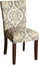 HomePop Parsons Classic Upholstered Accent Dining Chair, Set of 2, Taupe and Cream Medallion