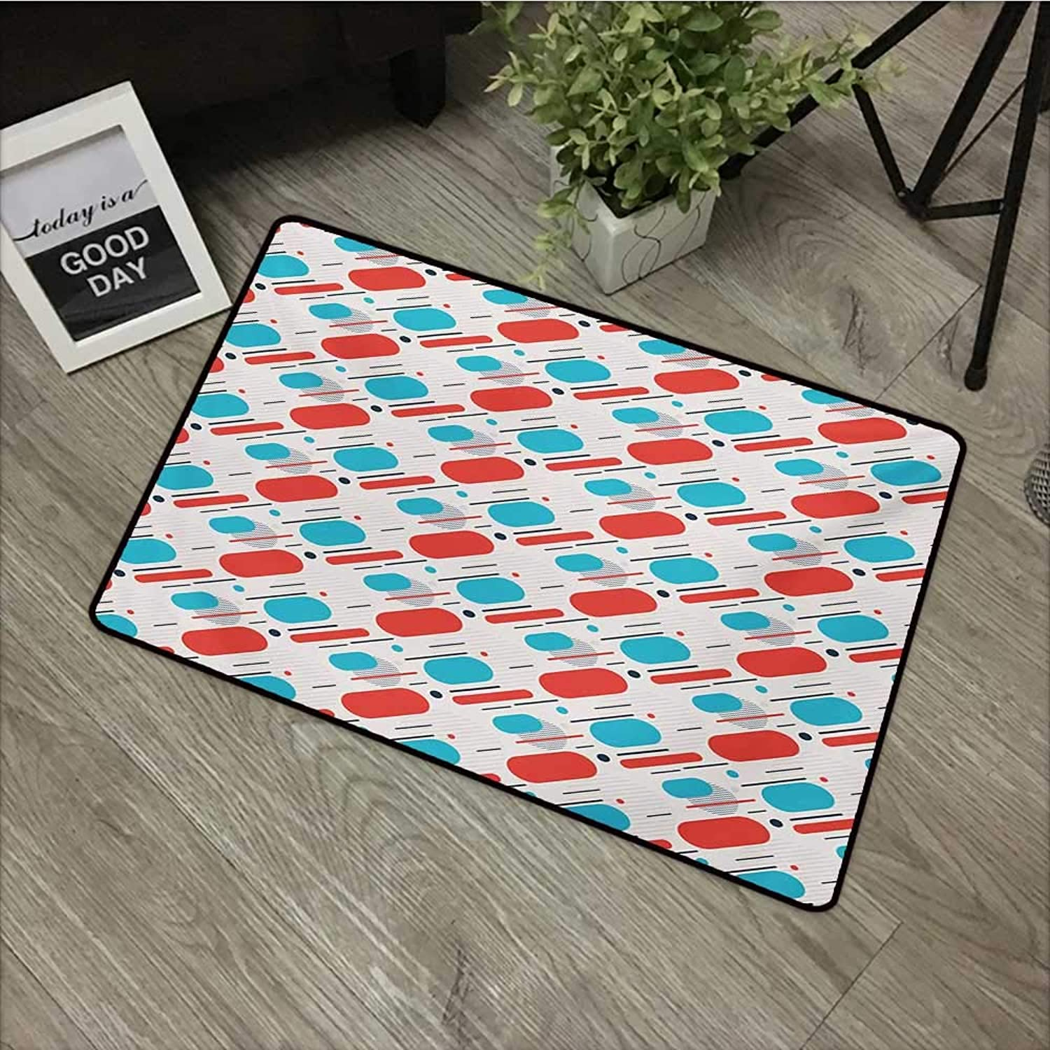 ef8035db6 Printed Door mat W35 x L47 INCH Geometric,Abstract Line and Stripes  Abstract Minimalism Design